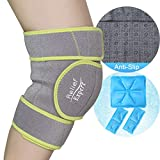 Relief Expert Knee Ice Pack Wrap Around Entire Knee, Reusable Gel Cold Packs for Knee Pain Relief, Cold Compress Therapy for Injuries, Swelling, Surgery  3 Flexible Ice Packs & Anti-Slip Lining