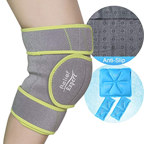Relief Expert Knee Ice Pack Wrap Around Entire Knee, Reusable Gel Cold Packs for knee Pain Relief, Cold Compress Therapy for Injuries, Swelling, Surgery – 3 Flexible Ice Packs & Anti-slip Lining