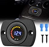 Fayeille Dc 12V Auto Voltmetro con LED Display Digitale Pannello, Indicatore di Tensione Misuratore con Terminali per Barca Marine Veicolo Moto Camion Atv Utv Auto con Luce Rossa