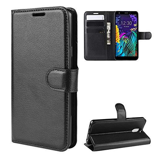 Funda para LG K30 2019 Case Flip Cover Cartera con Ranura para Tarjetas Estuche de Cuero PU+Interior de Silicona TPU Case con Soporte Carassa para LG K30 2019 Smartphone,Negro