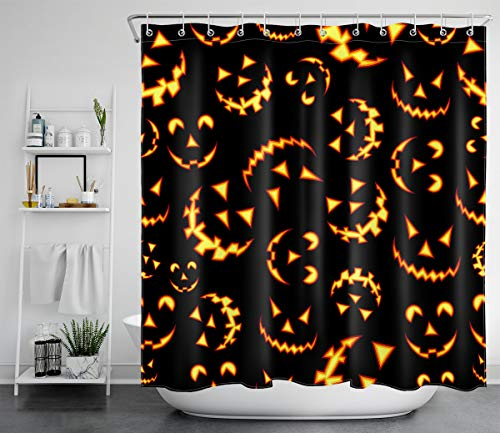 LB Happy Halloween Shower Curtain Set,Multi Spooky Pumpkin Ghost Face in Black Background Creepy Shower Curtain for Halloween Backdrop,72x72 Inch Waterproof Fabric with 12 Hooks