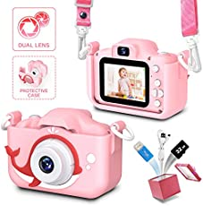 Kids Camera for Girls and Boys,Children Camera Digital Video,Kid Camera 2.0 Inches Screen 20.0MP Video, 32GB SD Card Include, Kid Toys Gift for Birthday,Chrismats Gift for 3 - 12 Years Old (pink)