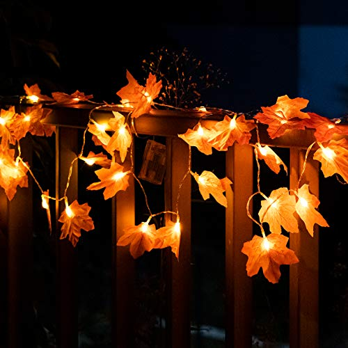 JIELIELE 4PACK Halloween Maple Leaves String Lights, 80 LEDs Twinkle Lights Battery Operated, Halloween String Light for Halloween Thanksgiving, Christmas, Decorations Outdoor Indoor Fall Decor