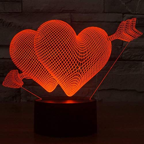 zxcvbnm Teddy Bear 3D Slide Night Light 7 Color Change Touch LED Table lamp Nursery Bedroom Decoration Christmas Birthday Gift Children's Toy Girl Animal Toy,Love Cupid