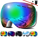 Qinner OTG Ski Goggles-Anti Fog UV Protection Snowboard Goggles with Free Ski Mask-Helmet Compatible Dual Lens Snow Goggles for Men Women Youth