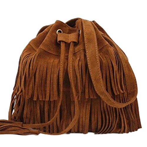 Bolso de hombro para mujer de ante con flecos, de ante sintético, con flecos, para mujer, estilo retro, No nulo, marrón, talla única