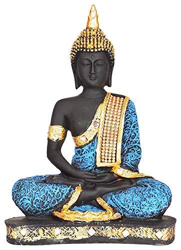CRECIMIENTO ARTE Showpiece for Living Room Stylish BuddhaIdol Figurine Sitting Statue for Home Decoration (Polyresin, 8x18.5x24 cm LWH) (Blue)
