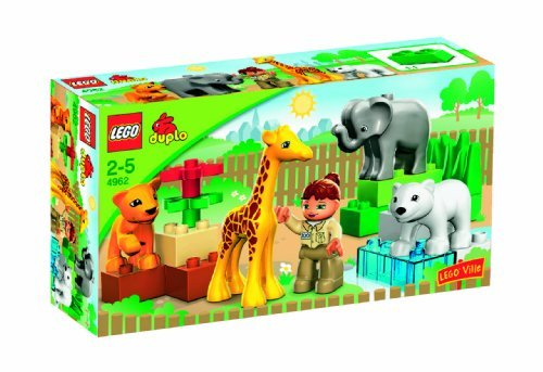 18-Piece Set Includes Animals, Zoo Keeper, And Large Building Bricks - DUPLO LEGO Ville Baby Zoo V70 (4962) by LEGO (English Manual)