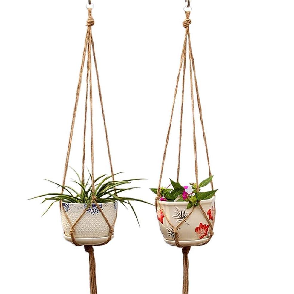 再撮り晴れ可動式5ピースマクラメ植物ハンガー、吊りプランター植木鉢バスケット吊りロープ手作り家の装飾