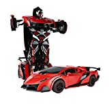 SainSmart Jr. RC Transformation Roboter, Fernbedienung Aktion Deformation Figur, Form-Schicht-Modell Auto, One-Touch-Transforming (Rot)