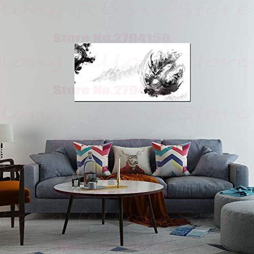 yuandp Chinese tuschemalerei canvasdruk Draak Retro cultuur kunstwerk foto's voor Lobby Vestibül wooncultuur zwart en wit kunstwerk No Frame 40 * 80cm 2