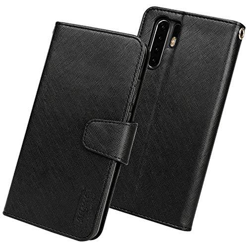 Migeec Handyhülle Kompatibel mit Huawei P30 Pro Leder Hülle Tasche Flip Cover Schutzhülle - Schwarz