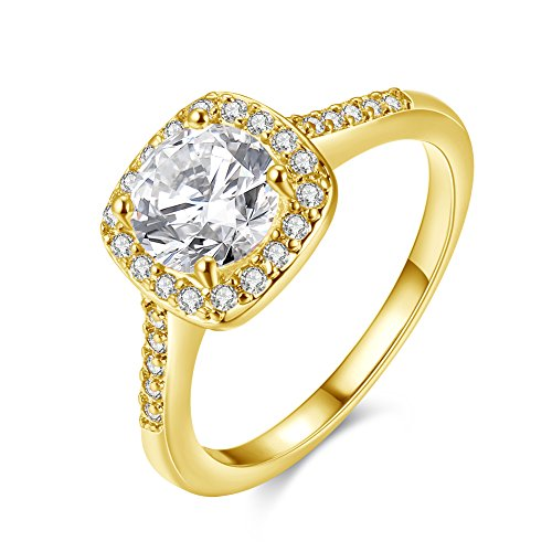 Uloveido Women's Yellow Gold Plated Square Solitaire Wedding Engagement Rings with Round Cubic Zirconia (Gold, Size L) KR002