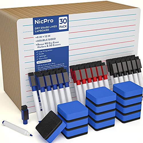 Nicpro 30 Pack Dry Erase Lapboard 9 x 12 inches Kid Double Sided Blank & Lined Small Whiteboard with 90 Water-Based Pens 30 Eraser Learning Mini White Board Portable for Student and Classroom Use