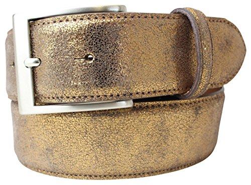 Hochwertiger Gürtel Metall-Optik Echt Leder 4 cm | Leder-Gürtel Metallic-Look 40mm | Metall-Ledergürtel | Bronze 100cm