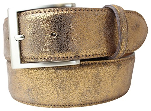 Hochwertiger Gürtel Metall-Optik Echt Leder 4 cm | Leder-Gürtel Metallic-Look 40mm | Metall-Ledergürtel | Bronze 95cm