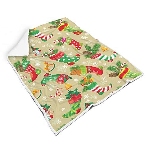 Charzee Kerstbloemendeken, fleece knuffeldeken, lichte microvezel-warmtedeken voor volwassenen en kinderen
