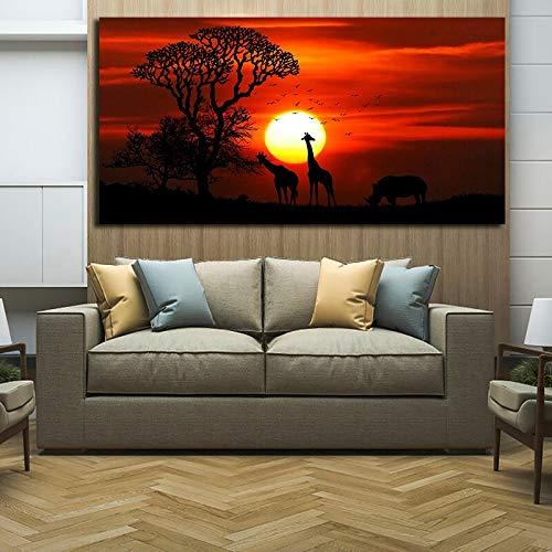 ganlanshu Giraffe Sonnenuntergang Leinwand Malerei Wilde Tier Natur Landschaft Poster und drucken Wandbild Wohnzimmer Dekoration rahmenlose Malerei 40cmX80cm