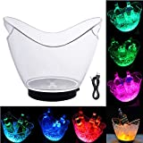 LED Ice Buckets, Colors Changing Cooler Bucket Waterproof Ice Bucket Champagne/Wine/Beer Bucket, 7-Color Gradient Luminous Plastic Ice Bucket, For Party/Home/Bar/KTV Club(4L USB Powered)