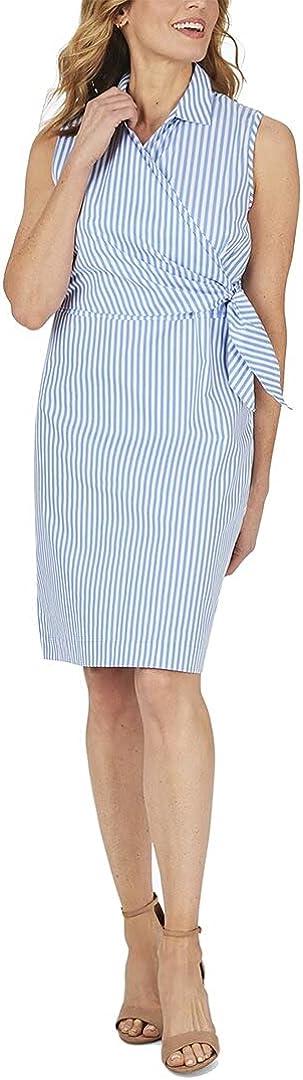 Foxcroft Women's Capri Wrinkle-Free Twill Stripe Dress