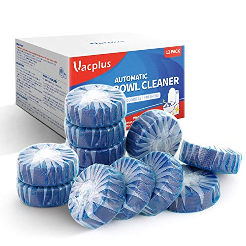 Vacplus Automatic Toilet Bowl Cleaner Tablets(12 PACK), Bathroom Toilet Tank Cleaner, Toilet Blue Clean Bubbles, Long-lasting, Fresh Smell, No Pungent Odor