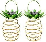 Lionina 2 Stück Ananas-Lichter, solarbetrieben, Vintage-Eisen Filament, Ananas-Form, wasserfest, Dekoration zum Aufhängen, Fee für den Außenbereich