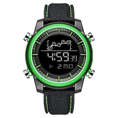 JTTM Mens Digital Sports Reloj Deportes LED Pantalla LED Cara Grande Relojes Militares para Hombres A Prueba De Agua Casual Luminoso Cronómetro Alarma Simple Ejército Reloj,Verde
