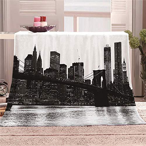 ZFSZSD Wohndecke Schwarzweiss-New York City Tagesdecke aus weichem Flanell, 3D-Digitaldruck Couch Sofa passend für die ganze Saison 180x200cm