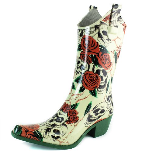 DailyShoes Cowboy Rose Skull Floral Prints High Heel Rain Boots, Rose Skull, 7 B(M) US,7 B(M) US