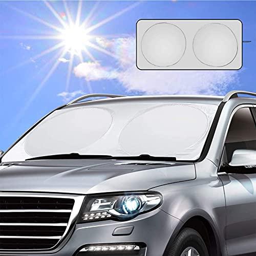 Dawdix Parasol para el coche, parasol coche delantero,150 x 80 cm, parasol para parabrisas, protección frontal perfecta contra los rayos UV y el calor en su coche, Apto a la Mayoría de Coches y Suvs