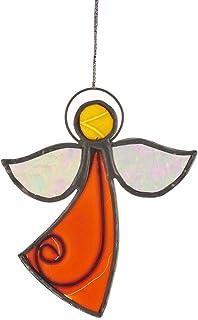 Hab & Gut -HA0G1- Carillón de Viento Naranja, Blanco, Amarillo, Angel, 10 cm x 8,5 -a x a-, Mòvil Artesanal para Ventana, Muro, terraza, balcón o jardín