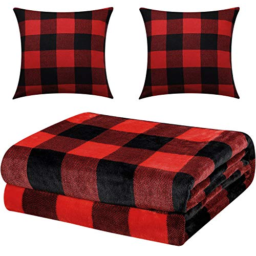 60 x 80 Inches Buffalo Plaid Throw Blanket, Flannel Fleece Throw Blanket, Checkered Soft Blankets with 2 Pieces 18 x 18 Inches Pillow Covers for Christmas Home Decor (Red and Black Plaid)