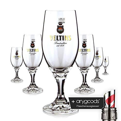 6 x Veltins Glas/Gläser 0,25l Pokal Bierglas Gastro Bar Deko NEU + anygoods Flaschenausgiesser
