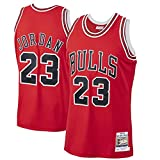 Men's #23 Jordans Jersey-Retro Polyester Mesh Sports Shirt S-XXL White/Black/Red-red-L