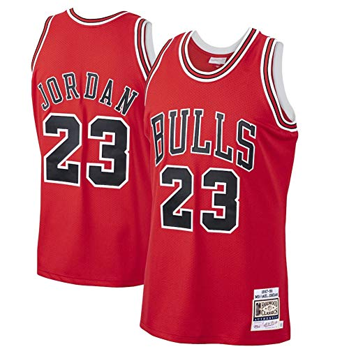 Men's #23 Jordans Jersey-Retro Polyester Mesh Sports Shirt S-XXL White/Black/Red-red-M
