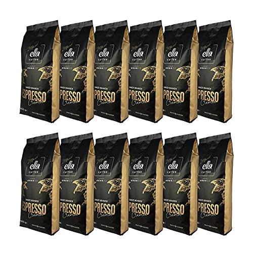 Ella Coffee - Espresso Crema - Ganze Kaffeebohnen 500 g (12er Pack)