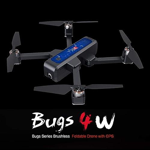 TianranRT  Drone U-T Mjx Bugs 4 W B4W 5G Wifi Fpv Gps Drone Brushless Rc Repliable Avec Caméra Hd 2K, Avec Fonction de Caméra Quadricoptère Grand Angle Grand Angle Réglable - Bleu