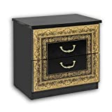 Stella Trading Eliza-Mesilla Real en Negro y Dorado-Elegante mesita de Noche con Dos cajones en diseño Barroco para tu Cama, Tabla de Madera aglomerada, 52 x 49 x 37 cm