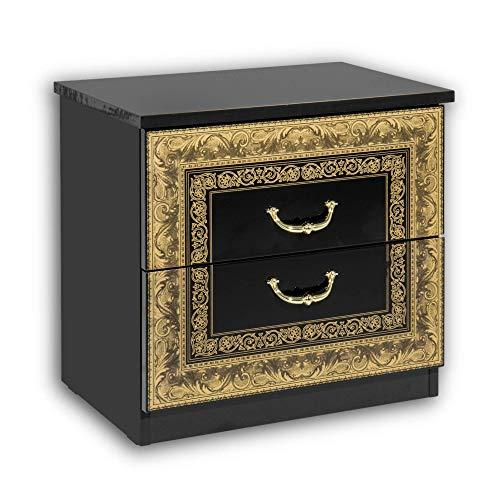 Stella Trading Eliza, Regale in Nero e Oro, Elegante Comodino con Due cassetti in Design Barocco per Il Vostro Letto, truciolato, 52 x 49 x 37 cm