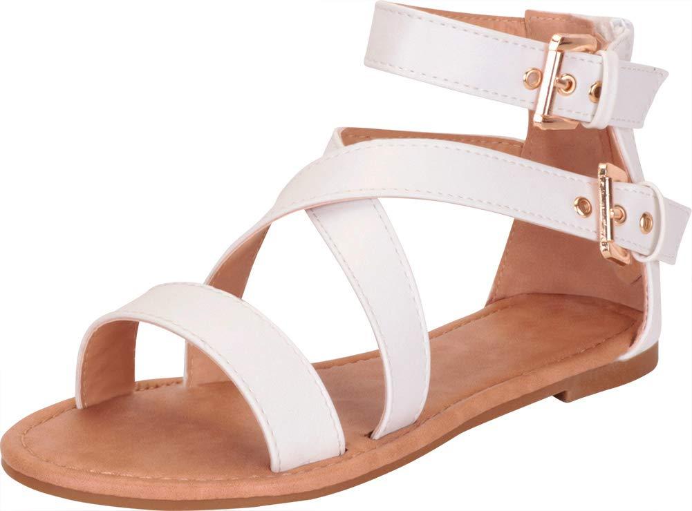 Cambridge Select 女式十字交叉系带搭扣及踝平底凉鞋