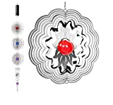 QILICZ Edelstahl Windspiel,3 stück Rostfreiem Lamellen  mit Glasperle + Crystal Twister + Windspiele Batteriemotor für Garten, Innen order draußen zum Aufhängen