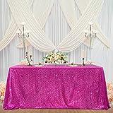 Mantel de lentejuelas color fucsia brillante, decoración de fiesta, mantel rectangular para cocina, cena, cumpleaños, boda, baby shower, 152 x 250 cm