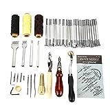 #N/V 48 piezas de herramientas de artesanía de cuero DIY costura a mano tallar trabajo Punch silla de montar accesorios de artesanía en cuero para trabajo de cuero