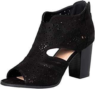 Women Peep Toe Laser Cutout Ankle Booties Stacked Chunky Heel Back Zip Open Toe Heeled Sandals Shoes by Lowprofile