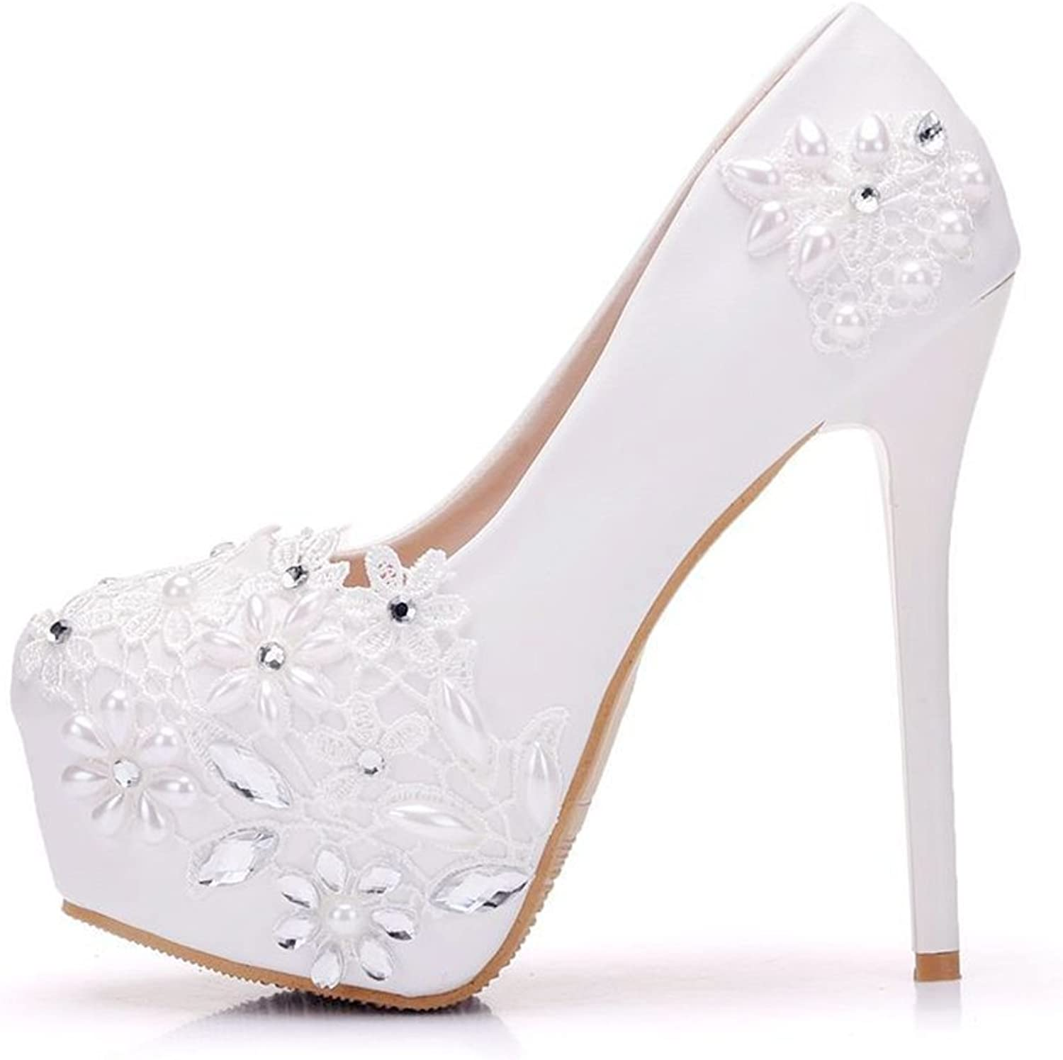 TUYPSHOES Women Pumps White Lace Wedding shoes Thin Heels Platform Round Toe High Heels for Wedding Party