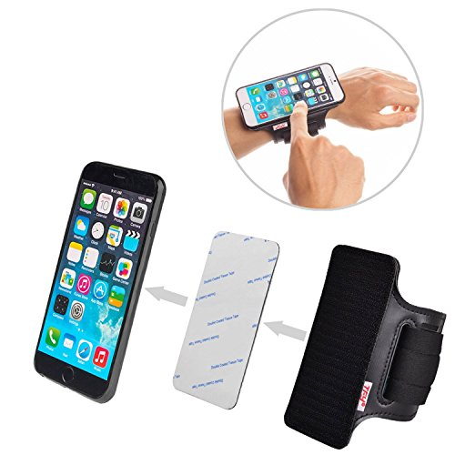 TFY Universal Sport Armband Plus Hook & Loop Fastening Tape Adhesive Patch - DIY Detachable Band for iPhone X / 8/8 Plus - iPhone SE 5/6 / 6S / 7 Plus - Samsung Galaxy S7 / S7 Edge and More