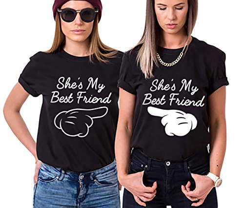 Best Friend Shirt Cotone Stampa Coppia T-Shirt Manica Corta She'S My Finger Maglietta Migliori Amici Girocollo Estate Tumblr Per Donna Donne(Nero+Nero,Bianco Finger-M+Nero Finger-S)
