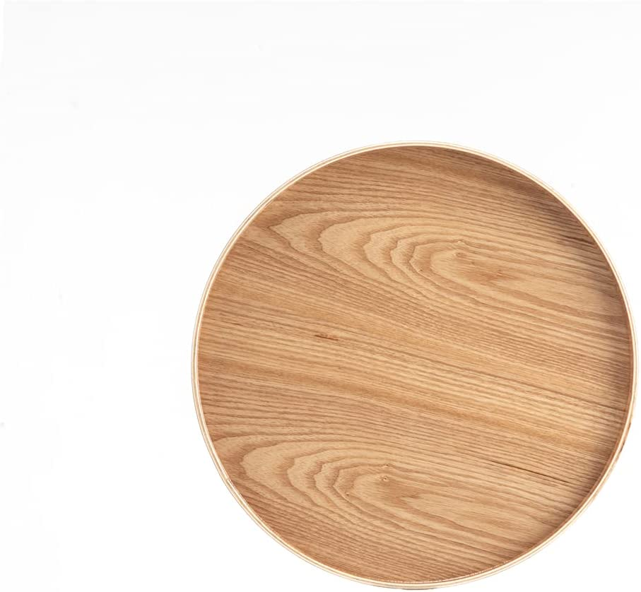 XKXKKE Round Solid Wood Serving Tray Tea Coffee Snack Food Meals Serving Tray Non-Slip Wooden Plate Tea Food Server with Raised Edges(33cm)