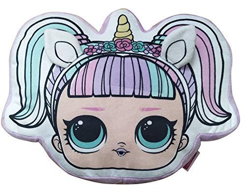 Character Linens Lol Surprise Unicorn Head 3D Shaped Cushion