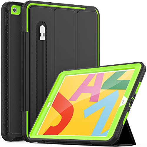 iPad 10.2 inch Case, iPad 7th/8th Generation Cover, Heavy Duty Shockproof Protective iPad 7/8 Case with Pencil Holder/Folio Stand, Auto Sleep/Wake Smart Cover for iPad Case 10.2 2019/2020,Black/Green